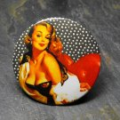 Pin Up Girl on Red Chair Black and White Background, Decorated Vanity Pocket Mirror
