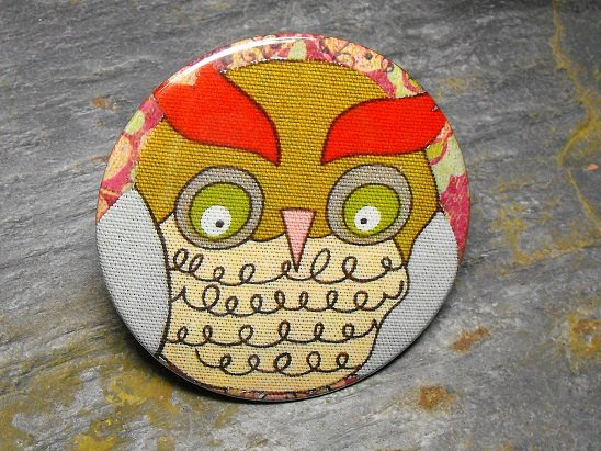 Owl in Tan and Red, Decorated Vanity Pocket Mirror