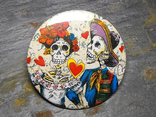 Day of the Dead Couple, Cream Background with Hearts, Decorated Vanity Pocket Mirror
