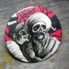 Day of the Dead Couple Black and White, Pink Background, Decorated Vanity Pocket Mirror