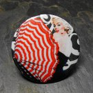 Marilyn Monroe, Red and White Umbrella, Decorated Vanity Pocket Mirror