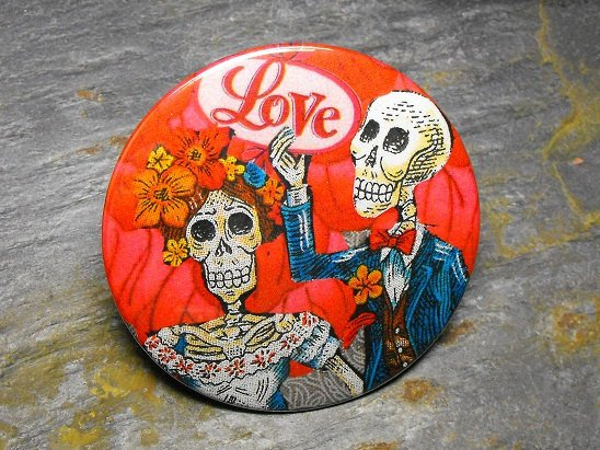 """Day of the Dead Pair, Red """"Love"""" Background, Decorated Vanity Pocket Mirror"""