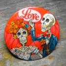 "Day of the Dead Pair, Red ""Love"" Background, Decorated Vanity Pocket Mirror"