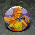 Pin Up Girl in Green, Purple Checkered Background, Decorated Vanity Pocket Mirror