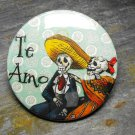 "Day of the Dead Couple, ""Te Amo"", Blue Print Background, Decorated Vanity Pocket Mirror"