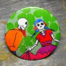 Day of the Dead Dancing Couple, Green Print Background, Decorated Vanity Pocket Mirror
