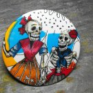Day of the Dead Skeleton Women, Print Background, Decorated Vanity Pocket Mirror