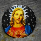 Jesus Print on Star Pattern Background, Decorated Vanity Pocket Mirror