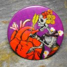 Day of the Dead Skeleton Women, Heart Print on Purple Background, Decorated Vanity Pocket Mirror