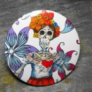 Day of the Dead Skeleton Women, Flower Print Background, Decorated Vanity Pocket Mirror
