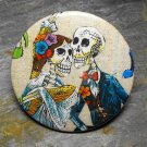 Day of the Dead Skeleton Couple, Tan Print Background, Decorated Vanity Pocket Mirror