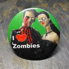 """I Love Zombies"", Couple on Green Background, Decorated Vanity Pocket Mirror"