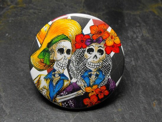 Day of the Dead Couple, Black and White Lined Background, Decorated Vanity Pocket Mirror