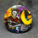 Day of the Dead Couple Dancing, Purple Print Background, Decorated Vanity Pocket Mirror