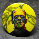 Vintage Style Frankenstein Print, Yellow Lightening Background, Decorated Vanity Pocket Mirror