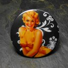 Pin Up Girl in Pink Bikini, Black and White Design Background, Decorated Vanity Pocket Mirror