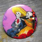 Day of the Dead Seated Couple, Purple Background, Decorated Vanity Pocket Mirror
