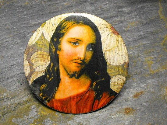 Jesus Print on Leaf Print Background, Decorated Vanity Pocket Mirror