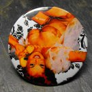 Pin Up Girl on Phone, White and Black Design Background, Decorated Vanity Pocket Mirror