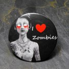 """I Love Zombies"", Black and White Zombie Girl, Black Background, Decorated Vanity Pocket Mirror"