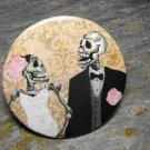 Day of the Dead Wedding Couple, Cream Colored Print Background, Decorated Vanity Pocket Mirror