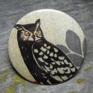 Black Owl Print, Leaf Design Background, Decorated Vanity Pocket Mirror