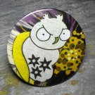 Angry Owl Print, Purple Design Background, Decorated Vanity Pocket Mirror