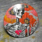 Skeleton with Heart, Colorful Flower Background, Decorated Vanity Pocket Mirror