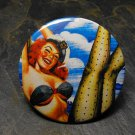 Pin Up Girl in Sailor Hat, Cloud Background, Decorated Vanity Pocket Mirror