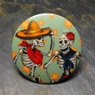 Day of the Dead Skeleton Couple, Star Print Background, Decorated Vanity Pocket Mirror