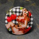 Pin Up Girl on Checkered Design with Cherries Background, Decorated Vanity Pocket Mirror