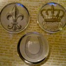 Set of Three Black and White Magnets, Fleur de Lis, Crown, and Horseshoe Print