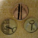 Set of Three Magnets, Pencil & Pen, Lock & Key, and Key Print
