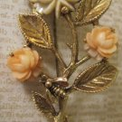 Vintage Gold Pin with Cream and Peach Flowers and Bee Accent