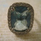 Light Blue Glass Ring with Rhinestones Around Edges, Size 8