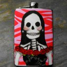 Stainless Steel Flask - 8oz., Day of the Dead Lady on Pink Printed Background