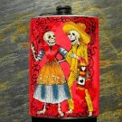 Stainless Steel Flask - 8oz., Colorful Day of the Dead Couple on Red Print Background