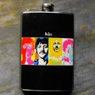 Stainless Steel Flask - 8oz., Colored Images of The Beatles on Black Background