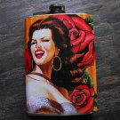 Stainless Steel Flask - 8oz., Pin Up Senorita on Rose Print Background
