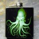 Stainless Steel Flask - 8oz., Night Vision Octopus Print on Black Background