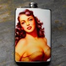 Stainless Steel Flask - 8oz., Pin Up Girl in Tan on Blue Background