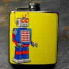 Stainless Steel Flask - 8oz., Robot in Blue on Yellow Background