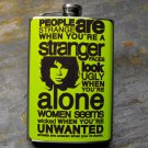 "Stainless Steel Flask - 8oz., Doors ""Strange"" Lyrics on Yellow Background"