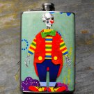 Stainless Steel Flask - 8oz., Day of the Dead Clown on Blue Print Background