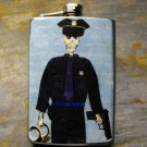 Stainless Steel Flask - 8oz., Day of the Dead Police Officer on Blue Print Background