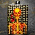 Stainless Steel Flask - 8oz., Yellow and Red Skeleton on Black Print Background