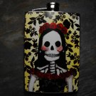 Stainless Steel Flask - 8oz., Day of the Dead Bride on Yellow and Black Print Background
