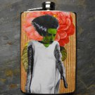 Stainless Steel Flask - 8oz., Bride of Frankenstein on Rose Print Background