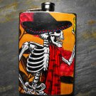 Stainless Steel Flask - 8oz., Day of the Dead Skeleton on Yellow Background
