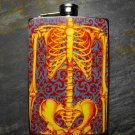 Stainless Steel Flask - 8oz., Bones in Yellow and Red on Purple Print Background